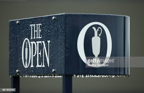 Rain drops are seen on signage during the third round of the 144th Open Championship at The Old Course on July 19 2015 in St Andrews Scotland