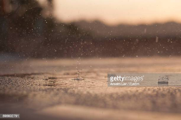 rain drops falling on street - differential focus stock pictures, royalty-free photos & images