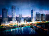 digitally generated rain drops window with