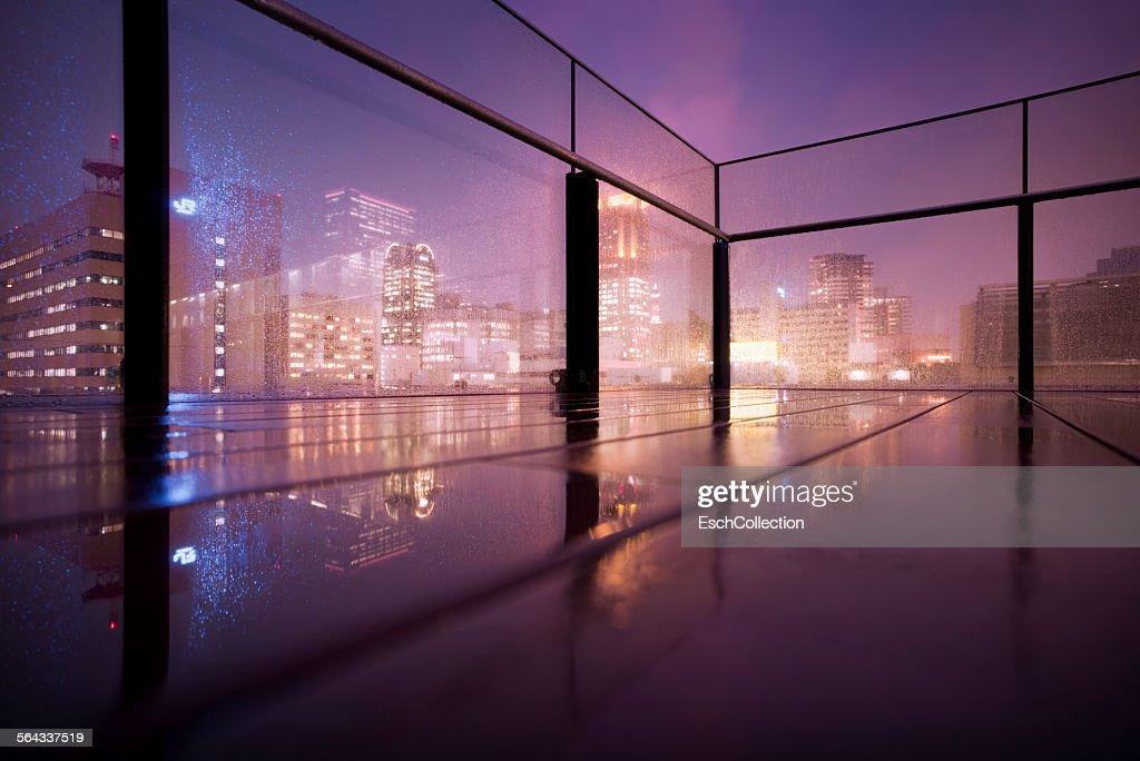 Rain falling down on elevated terrace in Osaka : Stock Photo