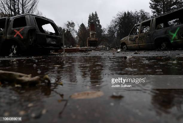 Rain falls on a home destroyed by the Camp Fire on November 22 2018 in Paradise California Fueled by high winds and low humidity the Camp Fire ripped...