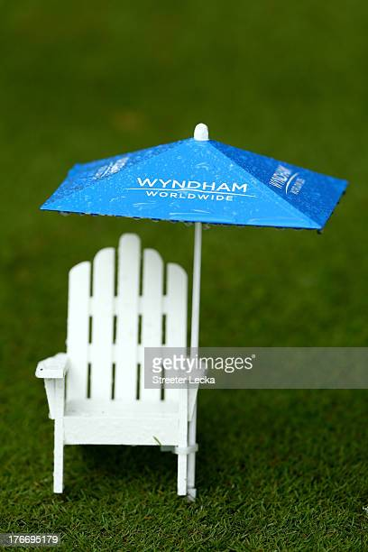 Rain falls on a tee marker in the third round of the Wyndham Championship at Sedgefield Country Club on August 17, 2013 in Greensboro, North Carolina.