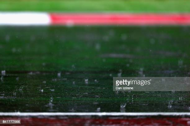 Rain falls on the circuit during final practice for the Formula One Grand Prix of Italy at Autodromo di Monza on September 2 2017 in Monza Italy