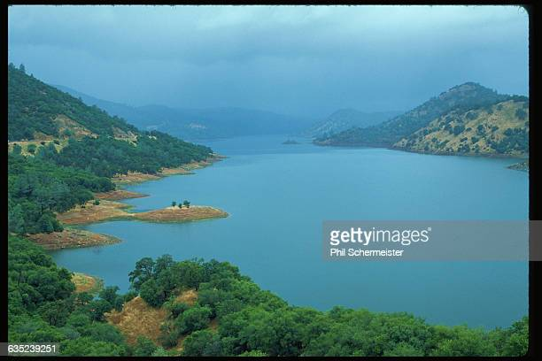 Rain falls on the New Don Pedro Reservoir in California   Location Chinese Camp California USA