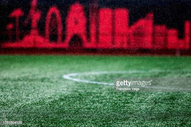 Rain falls on the turf prior the 9th round match between Tijuana and America as part of the Torneo Guard1anes 2021 Liga MX at Caliente Stadium on...
