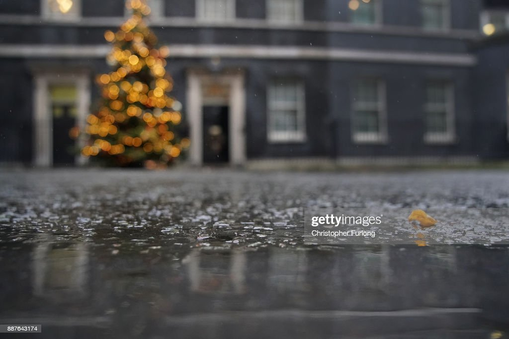 Rain falls outside 10 Downing St as Brexit negotiations continue on December 7, 2017 in London, England. The British Government continues to work out a deal on the matter of the Ireland border before Brexit negotiations with the EU can continue.