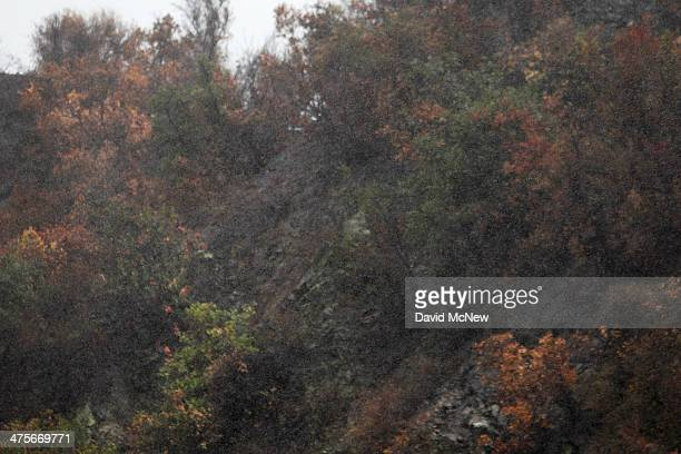 Rain falls over a charred hillside in the Colby Fire burn area as a storm brings rain in the midst of record drought on February 28 2014 in Azusa...