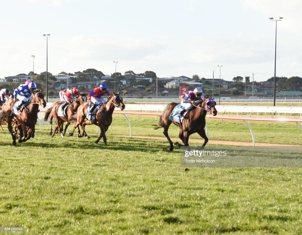 Rain Fast ridden by Melissa Julius wins the Darrian Office & Art Supplies BM64 Handicap at Warrnambool Racecourse on August 24, 2017 in Warrnambool, Australia.