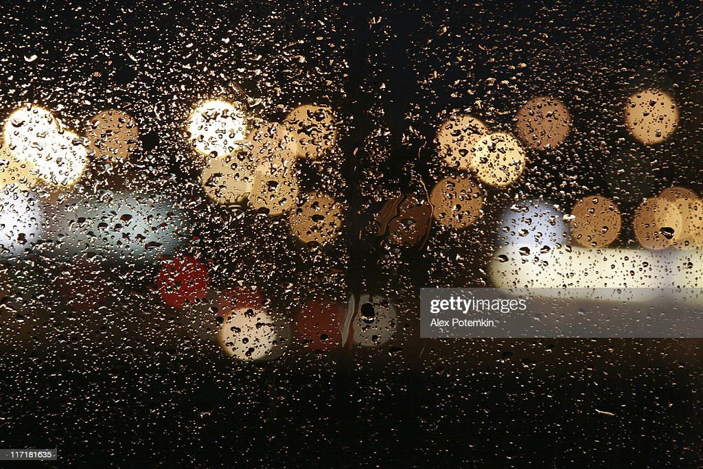 Rain in autumn. wet night windows - abstract background : Stock Photo