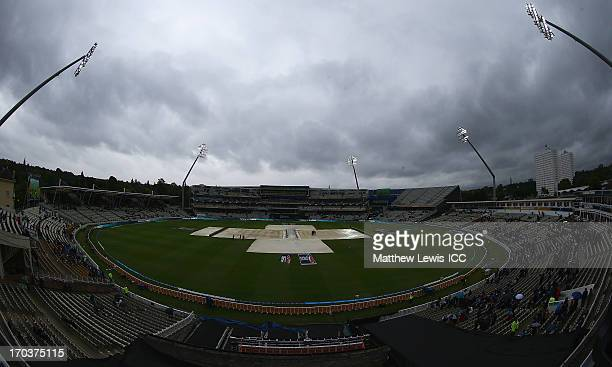 Rain interupts play during the ICC Champions Trophy Group A match between Australia and New Zealand at Edgbaston on June 12 2013 in Birmingham England