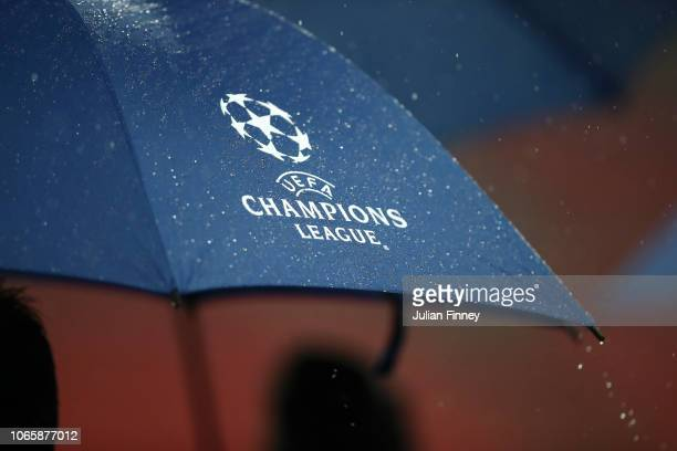 Rain is seen on Champions League logo on an umbrella ahead of an Inter Milan press conference at Wembley Stadium on November 27 2018 in London England