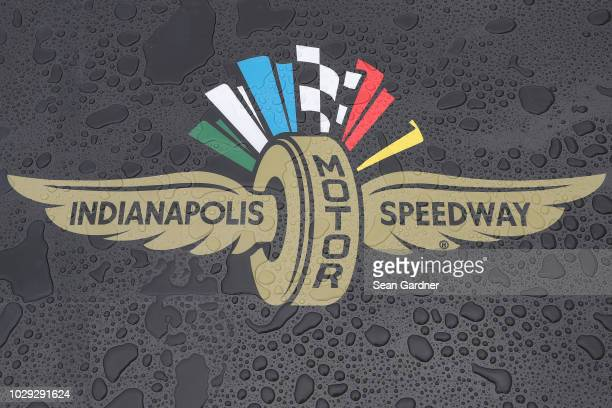 Rain is seen on the Indianapolis Motor Speedway logo prior to practice for the Monster Energy NASCAR Cup Series Big Machine Vodka 400 at the...