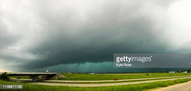 Rain obscures the view of a tornado on May 28 2019 in Lawrence Kansas The Midwest has seen extensive severe weather this spring with widespread...