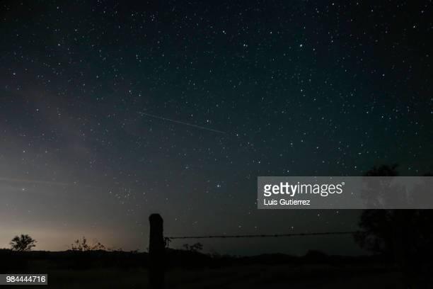 rain of stars phenomenon seen from sonora desert in mexico - light natural phenomenon stock photos and pictures
