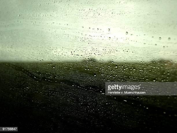 Rain on a train window