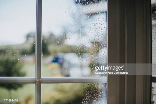 rain on a window - window stock pictures, royalty-free photos & images