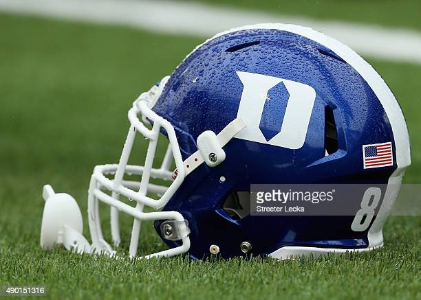 Rain on the helmet of the Duke Blue Devils during their game against the Georgia Tech Yellow Jackets at Wallace Wade Stadium on September 26 2015 in...