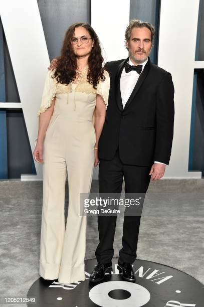 Rain Phoenix and Joaquin Phoenix attend the 2020 Vanity Fair Oscar Party hosted by Radhika Jones at Wallis Annenberg Center for the Performing Arts...