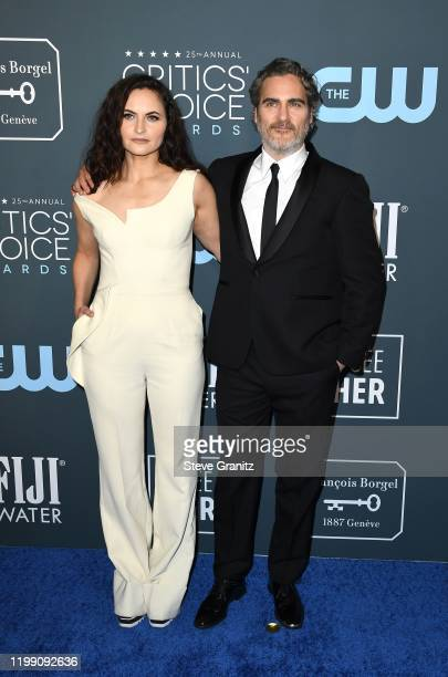 Rain Phoenix and Joaquin Phoenix attend the 25th Annual Critics' Choice Awards at Barker Hangar on January 12, 2020 in Santa Monica, California.