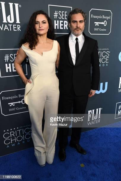 Rain Phoenix and Joaquin Phoenix attend the 25th Annual Critics' Choice Awards at Barker Hangar on January 12 2020 in Santa Monica California