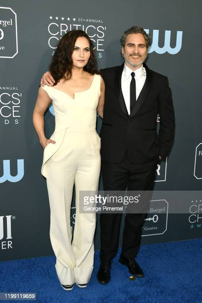 Rain Phoenix and Joaquin Phoenix attend the 25th Annual Critics' Choice Awards held at Barker Hangar on January 12 2020 in Santa Monica California