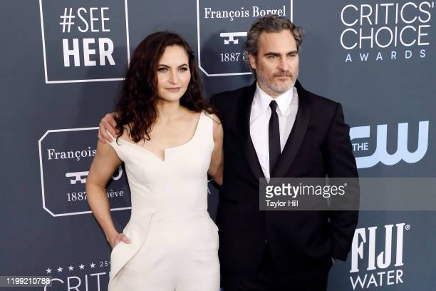 Rain Phoenix and Joaquin Phoenix attend the 25th Annual Critics' Choice Awards at Barker Hangar on January 12 2020 in Santa Monica California