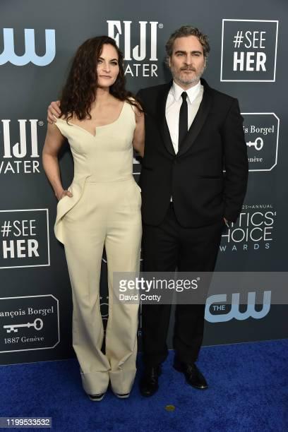 Rain Phoenix and Joaquin Phoenix during the arrivals for the 25th Annual Critics' Choice Awards at Barker Hangar on January 12 2020 in Santa Monica CA