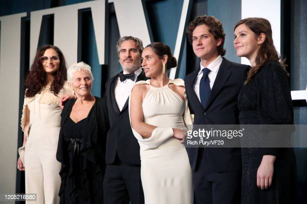 Rain Phoenix, Arlyn Phoenix, Joaquin Phoenix, Summer Phoenix and guests attends the 2020 Vanity Fair Oscar Party hosted by Radhika Jones at Wallis...