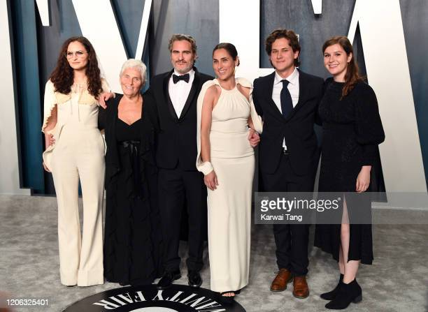 Rain Phoenix Arlyn Phoenix Joaquin Phoenix Summer Phoenix and guests attend the 2020 Vanity Fair Oscar Party hosted by Radhika Jones at Wallis...