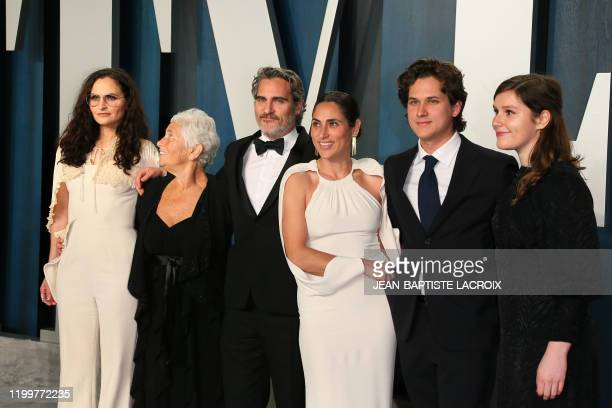 Rain Phoenix, Arlyn Phoenix, US actor Joaquin Phoenix , winner of the Oscar for Best Actor in a Leading Role, Summer Phoenix attend the 2020 Vanity...