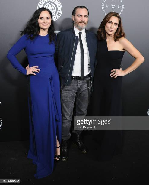 Rain Phoenix Joaquin Phoenix and Summer Phoenix attend The Art Of Elysium's 11th Annual Celebration Heaven at Barker Hangar on January 6 2018 in...
