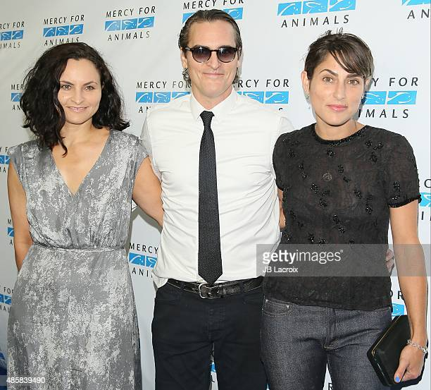 Rain Phoenix Joaquin Phoenix and Summer Phoenix attend The Hidden Heroes Gala presented by Mercy For Animals at Unici Casa on August 29 2015 in...