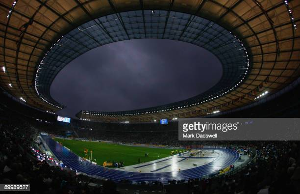 Rain pours down during day seven of the 12th IAAF World Athletics Championships at the Olympic Stadium on August 21 2009 in Berlin Germany
