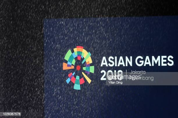 Rain pours down prior to the Asian Games Closing Ceremony at GBK main Stadium on September 2 2018 in Jakarta Indonesia