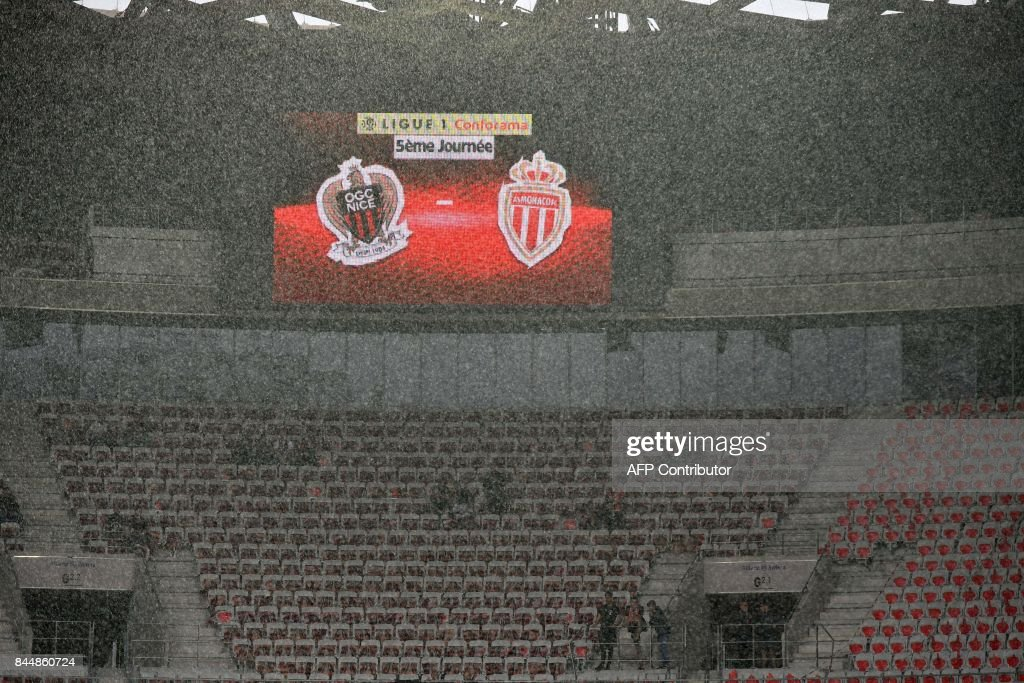 Rain pours over the Allianz Riviera stadium prior to the French L1 football match Nice (OGCN) vs Monaco (ASM) on September 9, 2017 in Nice, southeastern France. COATSALIOU