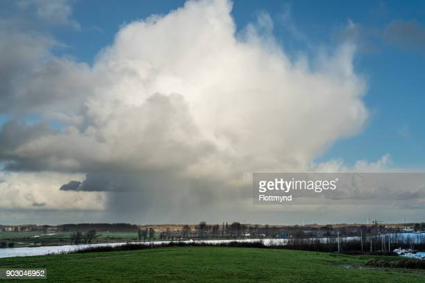 Rain showers over the little town of Spaarndam