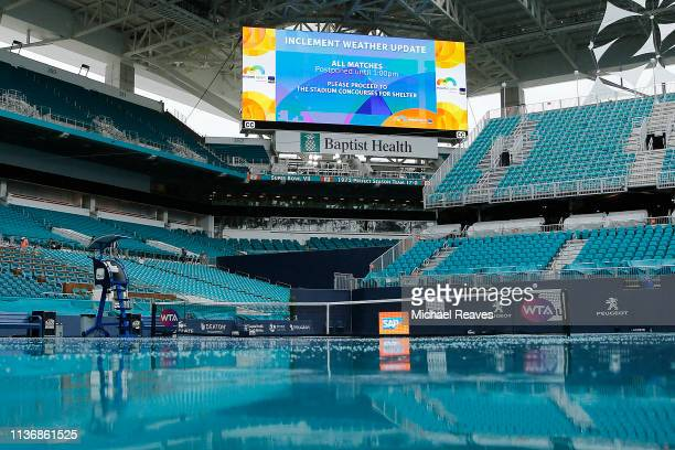 A rain soaked court is seen on Day 2 of the Miami Open Presented by Itau on March 19 2019 in Miami Gardens Florida