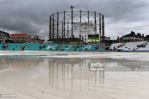 Rain stops play during Day Three of the 3rd Investec Test match between England and South Africa at The Kia Oval on July 29 2017 in London England