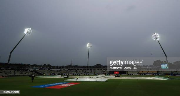 Rain stops play during the ICC Champions Trophy match between Pakistan and South Africa at Edgbaston on June 7 2017 in Birmingham England