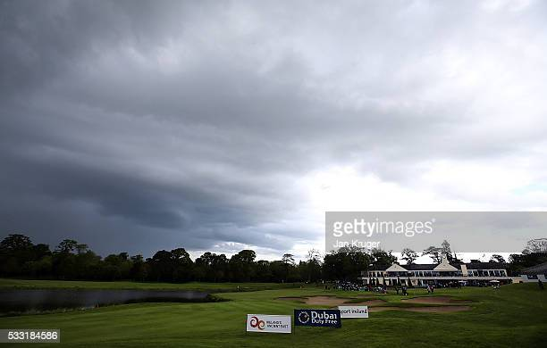 Rain stops play during the third round of the Dubai Duty Free Irish Open Hosted by the Rory Foundation at The K Club on May 21 2016 in Straffan...