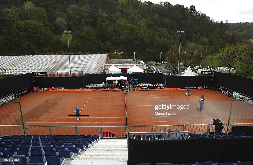 Rain stops play on Centre Court during day two of the Fed Cup World Group Play-Offs between Switzerland and Australia at Tennis Club Chiasso on April 21, 2013 in Chiasso, Switzerland.
