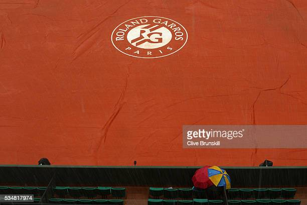 Rain stops play on day seven of the 2016 French Open at Roland Garros on May 28 2016 in Paris France
