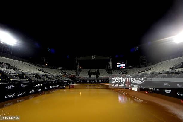 Rain suspends play during the Rio Open at Jockey Club Brasileiro on February 15 2016 in Rio de Janeiro Brazil