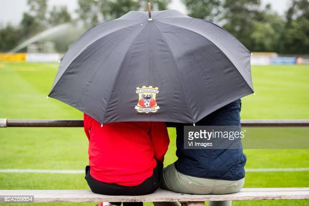 rain umbrella during the preseason match between Go Ahead Eagles and KVC Westerlo at sportpark SV Terwolde on July 29 201 in Terwolde The Netherlands