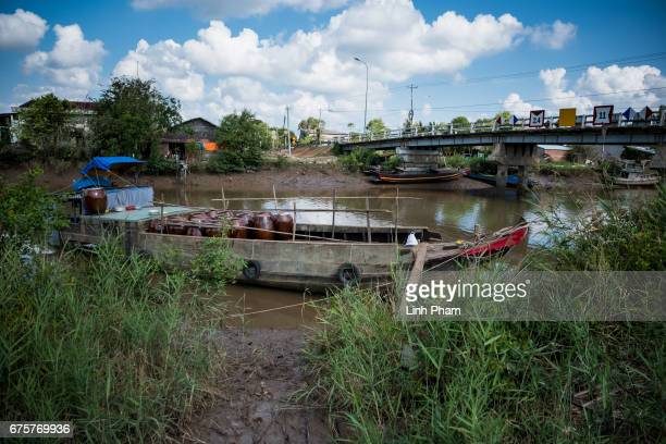Rain water storages for sale on April 28 2017 in Thua Duc Village Binh Dai District Ben Tre Province Vietnam Due to the lack of fresh water caused by...