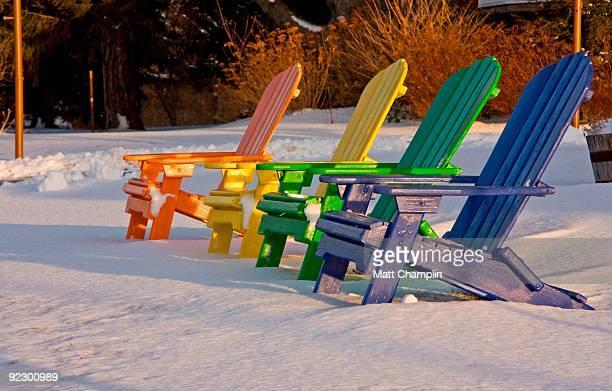 Rainbow Adirondack Chairs in Snow