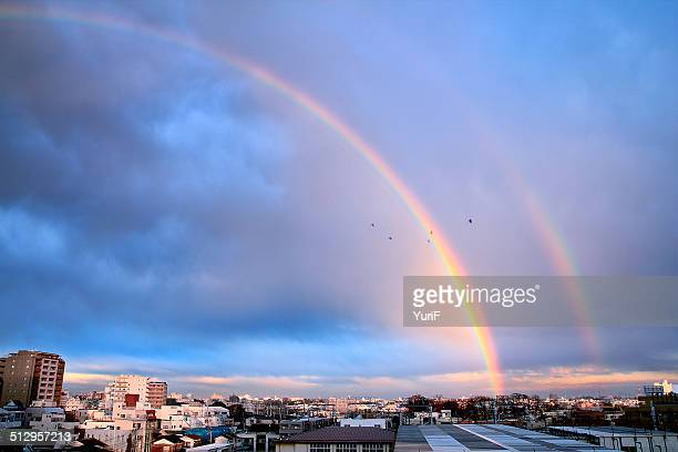 rainbow after the storm - rainbow stock pictures, royalty-free photos & images