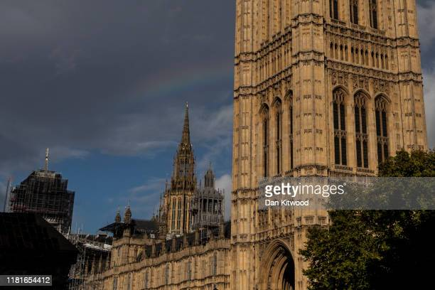 A rainbow almost forms over the Houses of Parliament on October 17 2019 in London England Officials announced earlier in the day that EU and UK...
