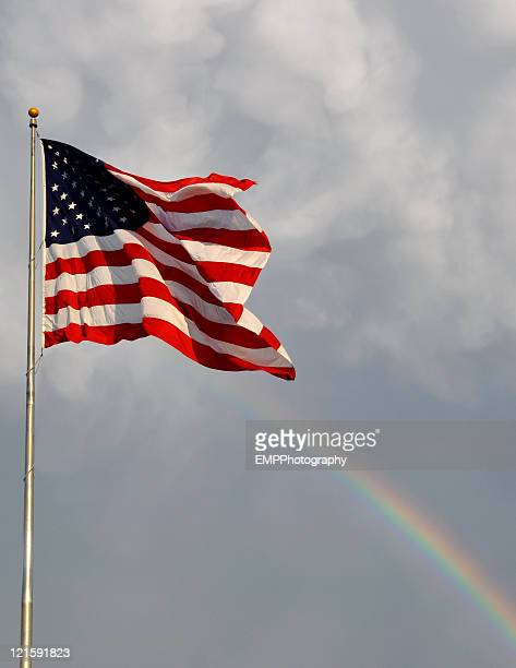 Rainbow and American Flag