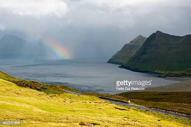 Rainbow and Beautiful fjord of Eysturoy Faroe Islands